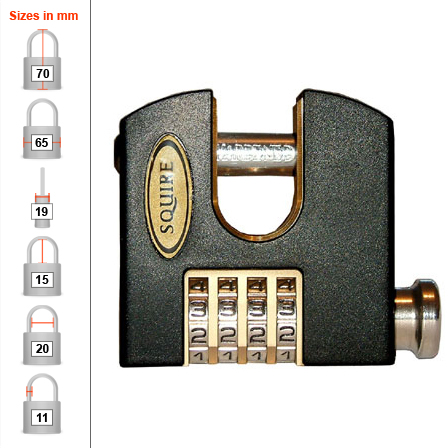 Squire SHCB65 Combination Padlock - Chain