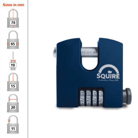 Squire SHCB65 Combination Padlock - Chain - 65mm
